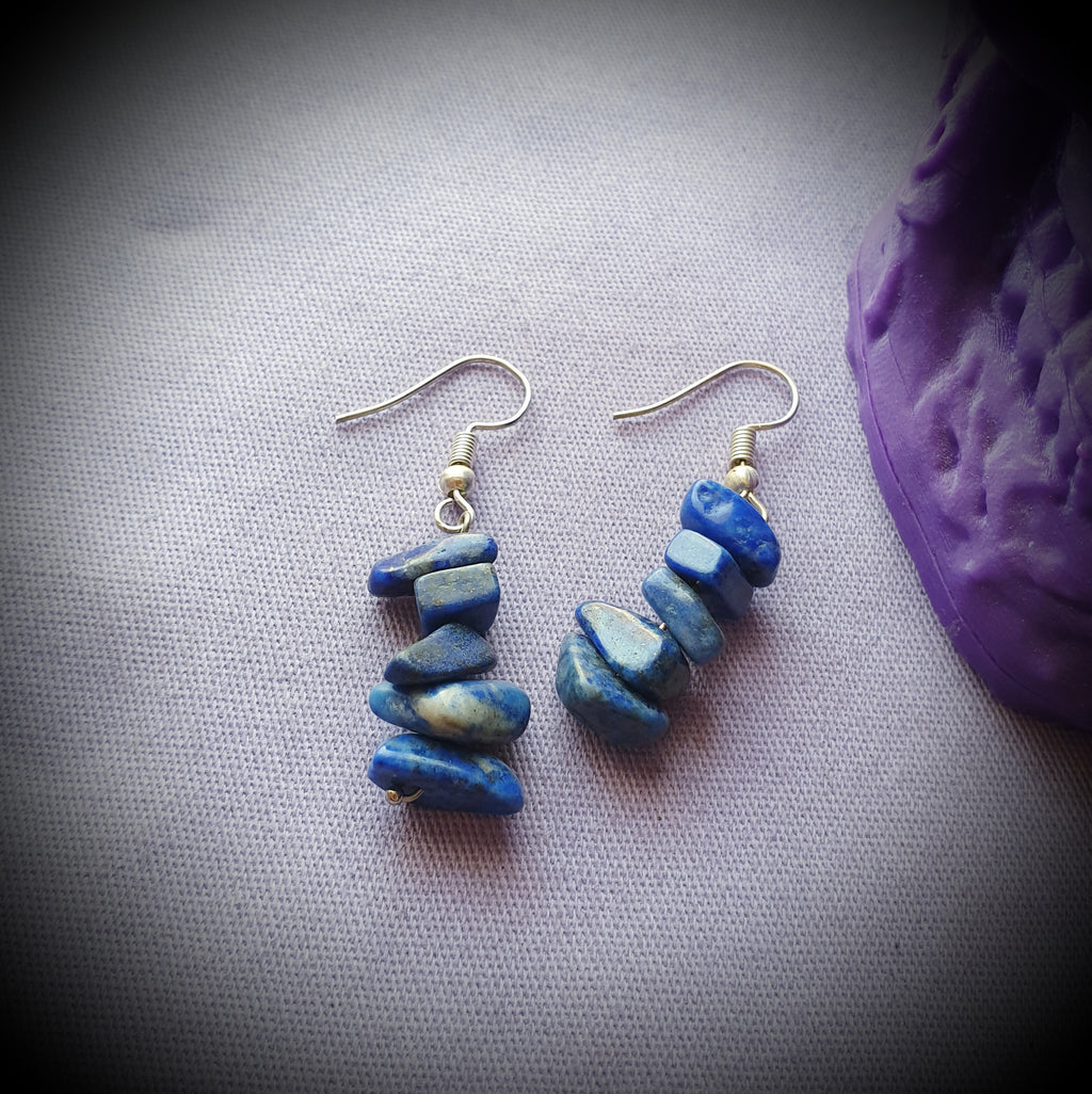Lapis Lazuli Crystal Cluster Earrings