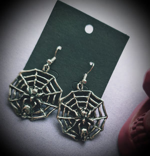 Spider On Web Earrings