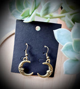 Crescent Moon Face Bronze Earrings