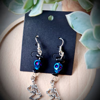 Dancing Skeleton Holographic Black Onyx Earrings