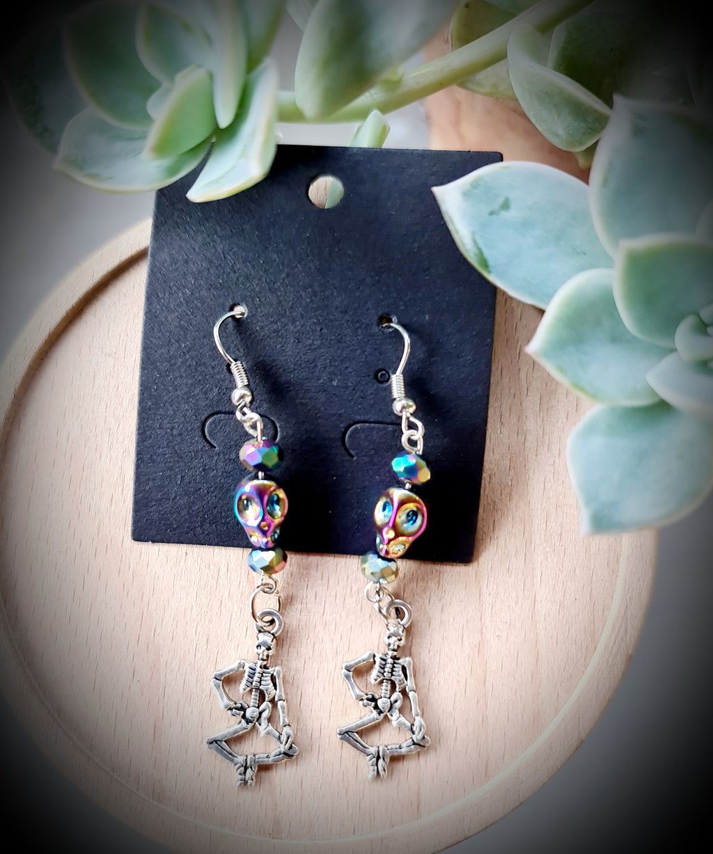 Dancing Skeleton Holographic Fire Aura Earrings