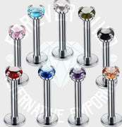 Crystal Prong-Set Labret ↠ Silver ~ 3mm Gem • Sold Individually