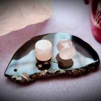 Rose Quartz Stone Plugs ~ Pair