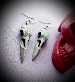 Raven Bird Skull Earrings