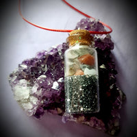 Earth & Night Gemstone Bottle Necklace