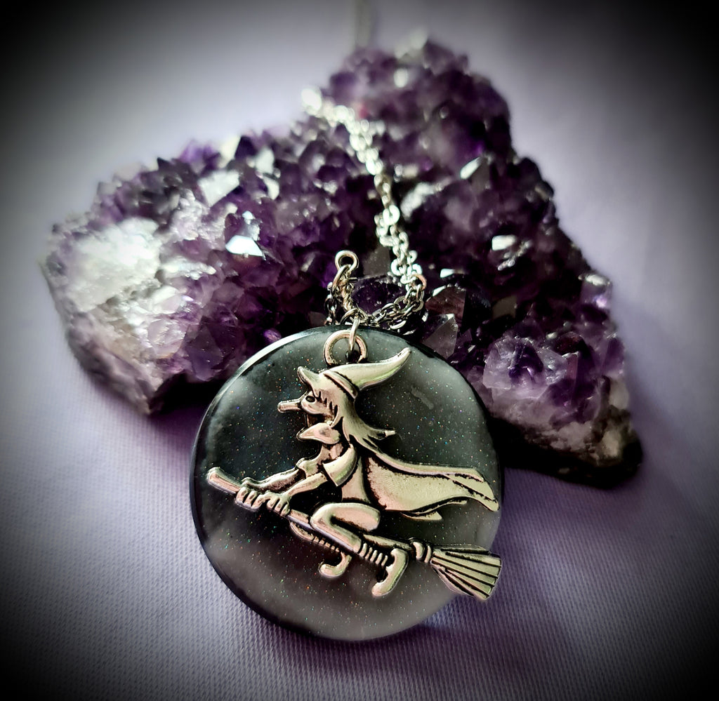 Flying With Resin Moon Necklace