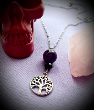 Amethyst Tree Of Life Crystal Necklace