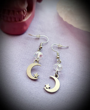 Crescent Moon Star Earrings