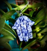 Carved Sodalite Hamsa Hand Crystal Necklace