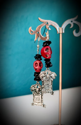 Tombstone Skull Black Onyx Earrings