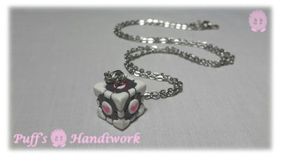 Companion Cube Game Portal Necklace