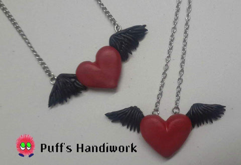 Black Feathered Heart Necklace