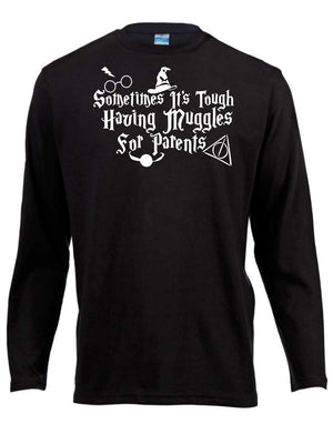 Muggles For Parents Harry Potter Long Sleeve Shirt ↠ White On Black
