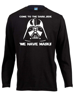 Dark Side Darth Vader Star Wars Long Sleeve Shirt ↠ White On Black