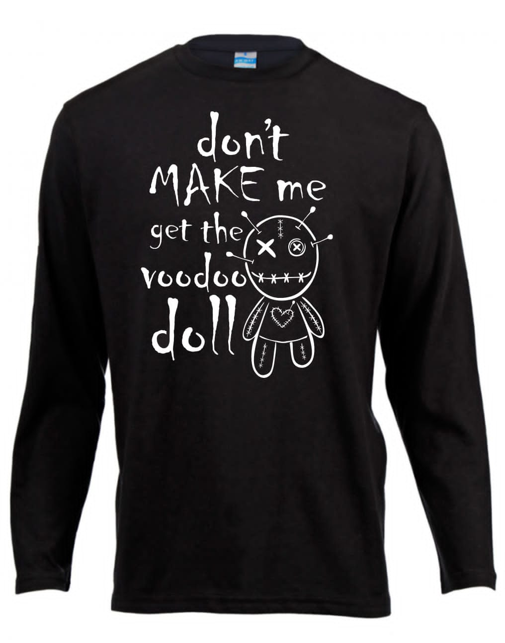 Voodoo Doll Long Sleeve Shirt ↠ White On Black