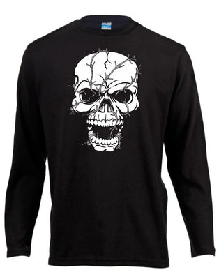 Barbwire Skull Long Sleeve Shirt ↠ White On Black