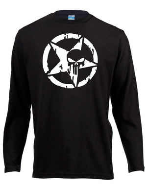 Punisher Skull Long Sleeve Shirt ↠ White On Black