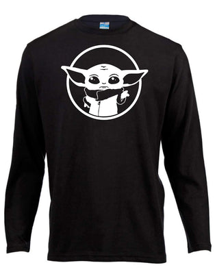 Baby Yoda Star Wars Long Sleeve Shirt ↠ White On Black