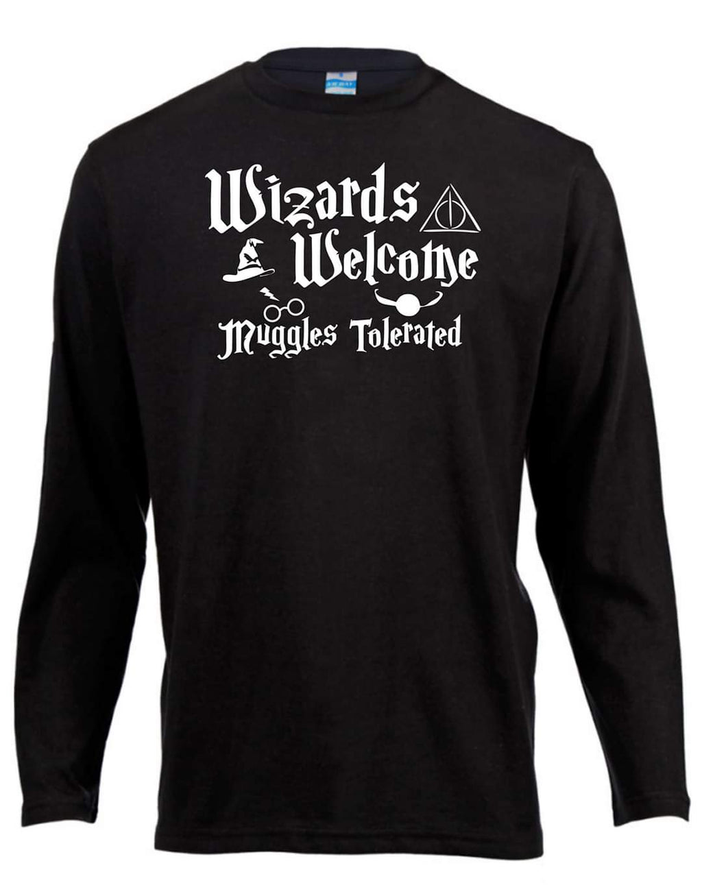 Wizards Welcome Muggles Tolerated Harry Potter Long Sleeve Shirt ↠ White On Black