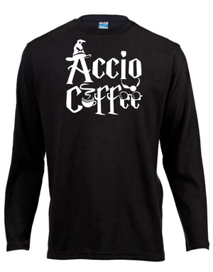 Accio Coffee Harry Potter Long Sleeve Shirt ↠ White On Black