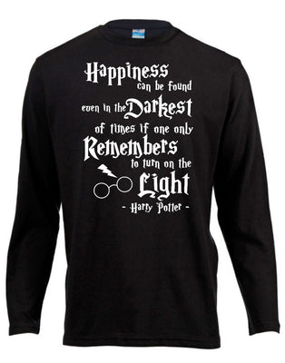 Happiness Quote Harry Potter Long Sleeve Shirt ↠ White On Black