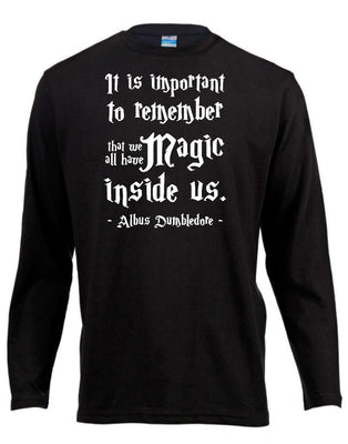 Magic Quote Harry Potter Long Sleeve Shirt ↠ White On Black