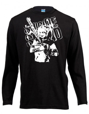 Harley Quinn Suicide Squad Long Sleeve Shirt ↠ White On Black
