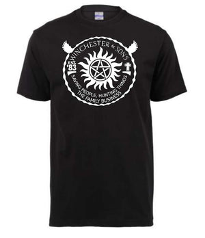 Winchester & Sons Supernatural Tshirt ↠ White On Black