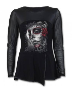 Day Of The Dead Mid Length Mesh Sleeve Dress