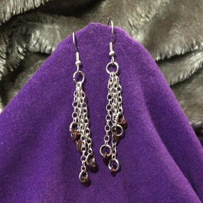 Garnet Chain Earrings