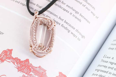 Clear Quartz Point In Enameled Copper Wire Pendant