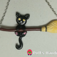 Cat On Broom Necklace