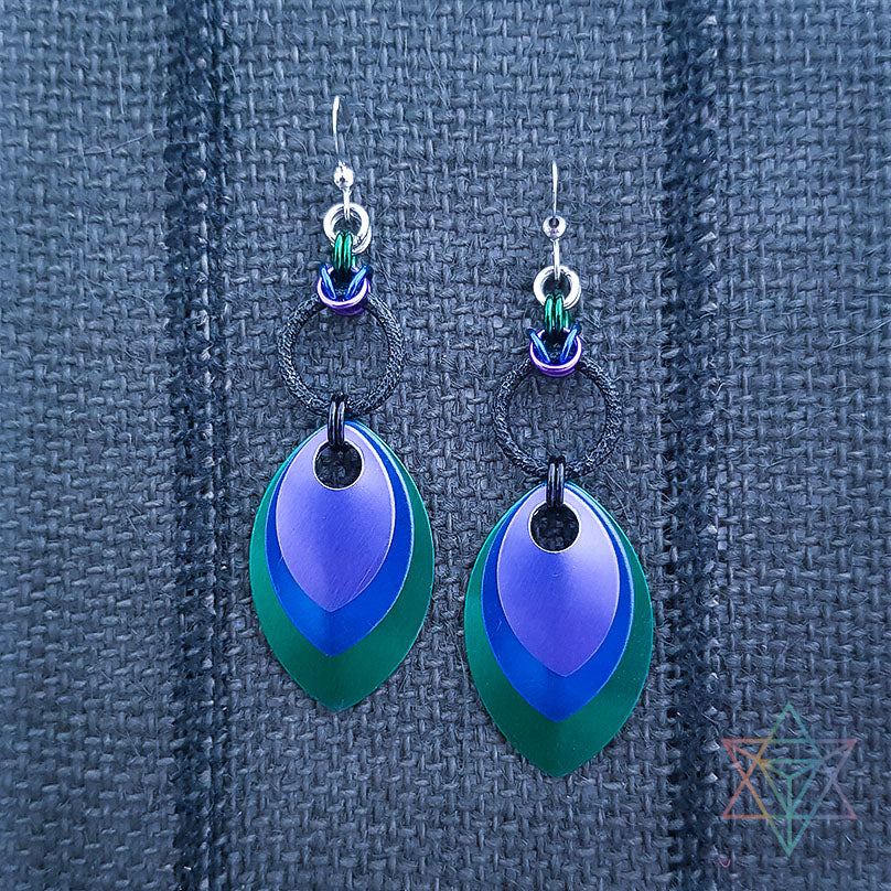 Ocean Dragon Flare Chainmaille Earrings