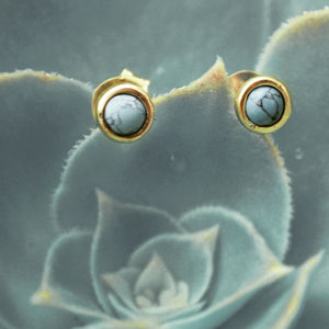 Gold Brass Pin Earrings With Turquoise Centre - P004