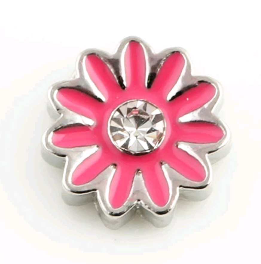 Hot Pink Flower Floating Charm