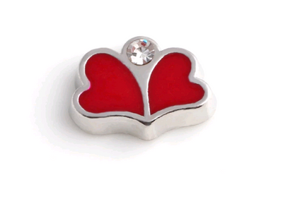Hearts & Diamantè Floating Charm