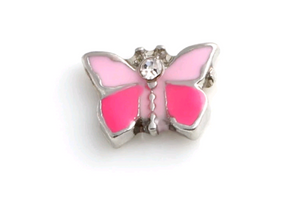 Pink Butterfly Floating Charm
