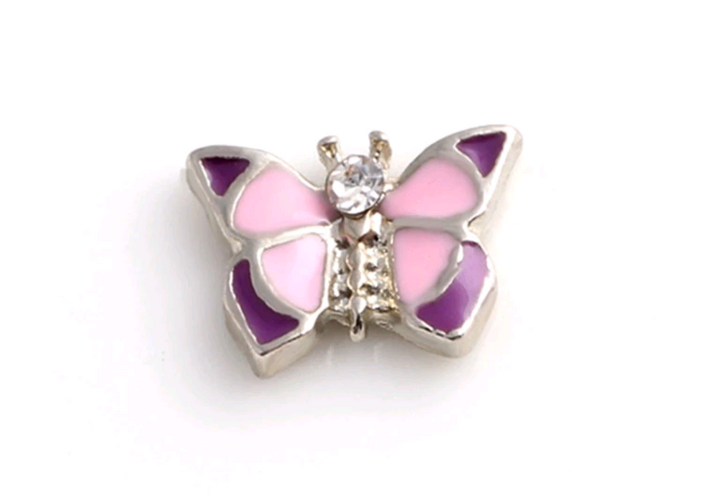 Pink & Purple Butterfly Floating Charm