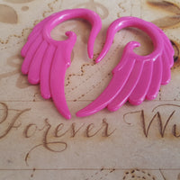 Angel Wing Ear Hangers ↠ Dark Pink ~ Pair