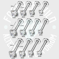 Crystal Prong-Set Labret ↠ Silver ~ 2mm Gem • Sold Individually