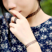 Plain Tattoo Choker, Ring & Bracelet Set
