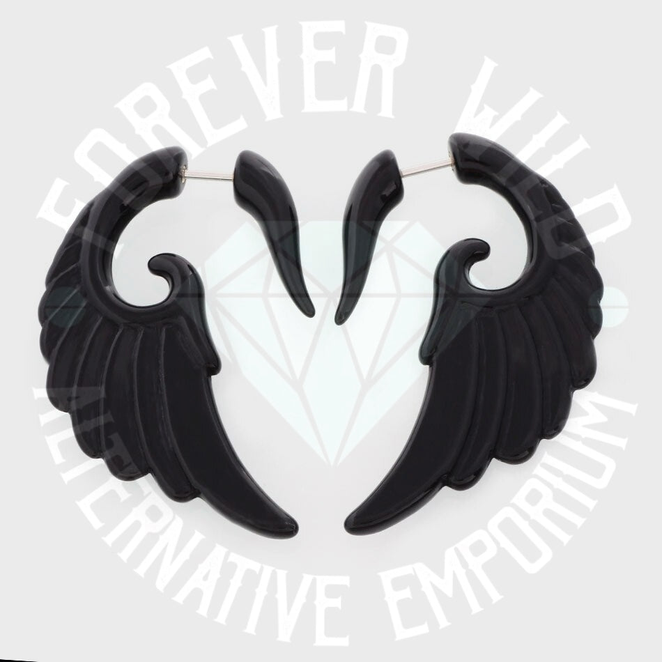 Faux Angel Wing Ear Hanger Earrings