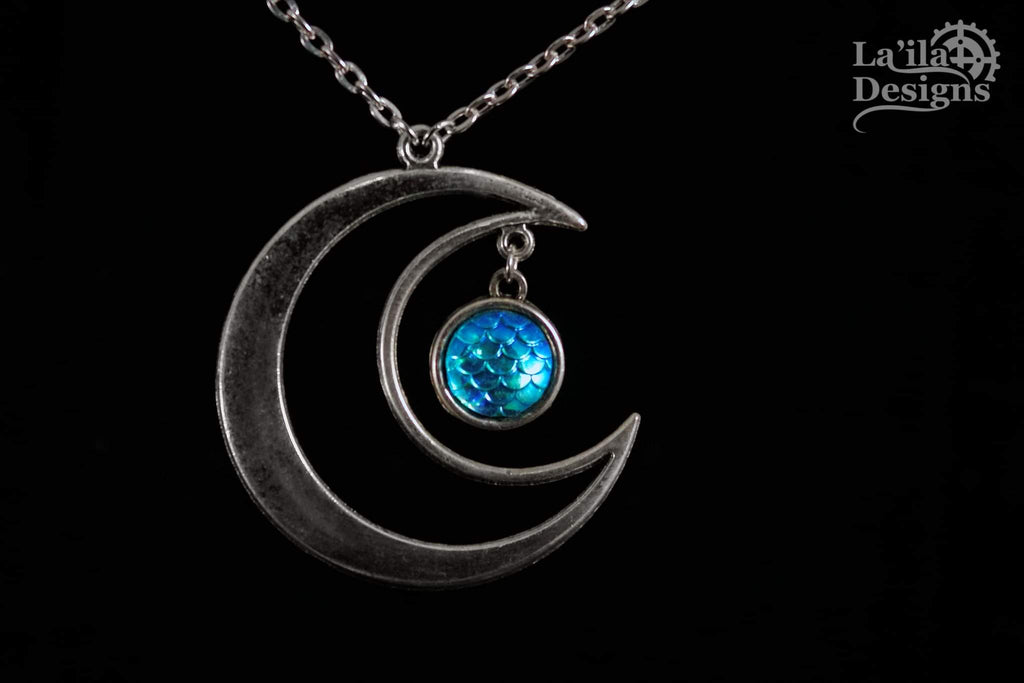 Mermaid Moon Necklace & Earrings Set