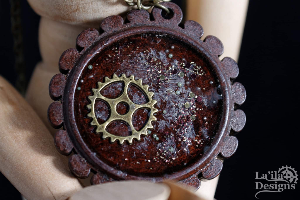 Wooden Steampunk Necklace