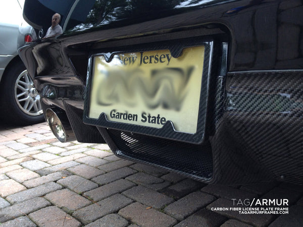 Infiniti G37 with TagArmur carbon fiber license plate frame