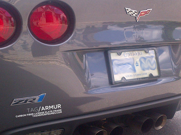Corvette ZR-1 with TagArmur carbon fiber license plate frame