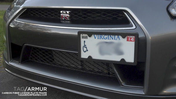GT-R with TagArmur carbon fiber license plate frame