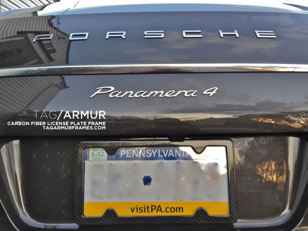 Porsche Panamera with TagArmur carbon fiber license plate frame