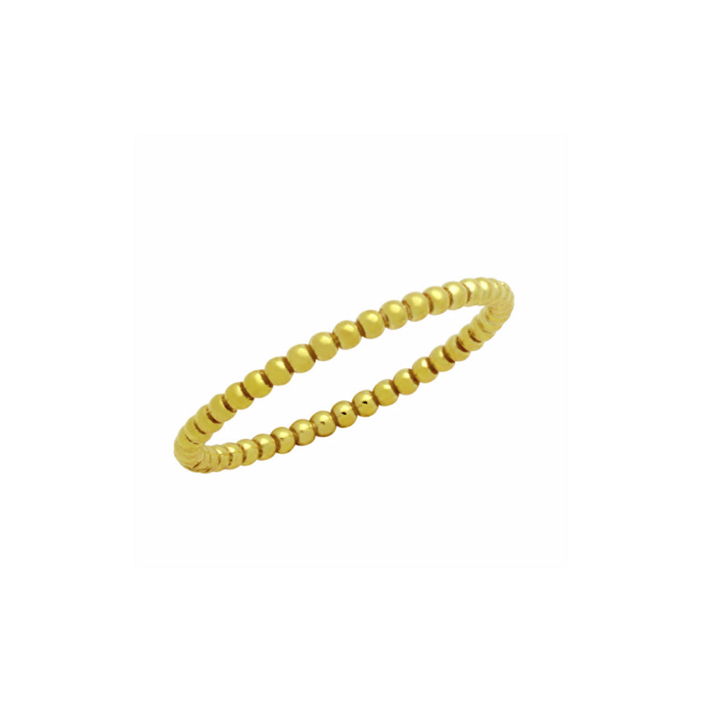 1.5mm beaded sterling silver ring (GOLD) - Kevin N Anna