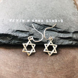 Sterling Silver Star of David Earrings-1815E - Kevin N Anna